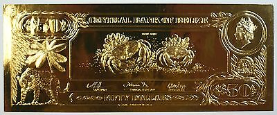 $50 Coral Crab-The First Gold Bank Notes of Belize w/ Presentation Card