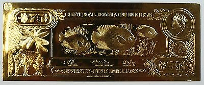 $75 Rock Beauty-The First Gold Bank Notes of Belize w/ Presentation Card