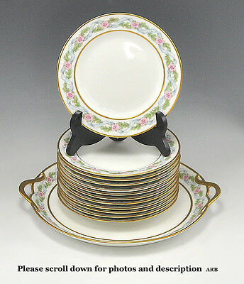 Beautiful Limoges Cake Set Including 12 Plates and 1 Serving Tray GDA 1900-1941