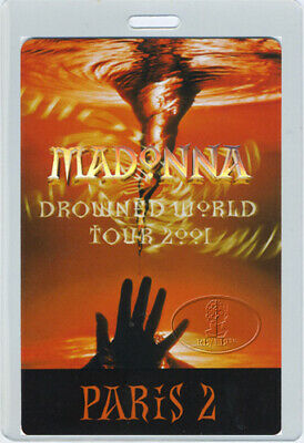 Madonna 2001 Drowned World Tour Laminated Backstage Pass Paris