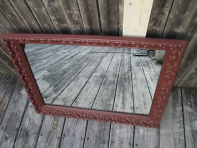 Heavy Old Antique? Mirror Ornate Wood Frame Paint 30 x  22 Hollywood Regency