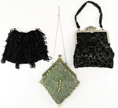 Antique Glass Beaded Purse Blue Black Lace Art Nouveau Deco Era Flapper Bag LOT
