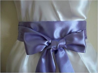 "2.5X60"" Lilac Lavender Satin Sash Self Tie Bow Belt For Bridal Prom Party Dress"