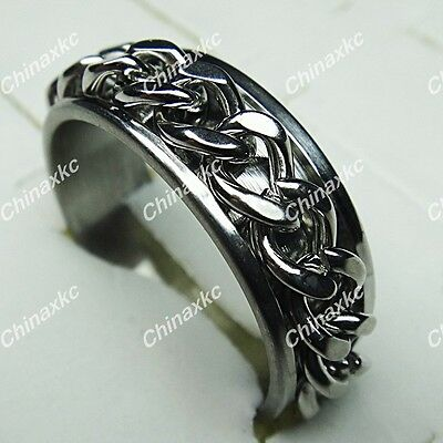 Cool 10pcs Stainless steel Double Spin Chain Mens Rings Wholesale Jewelry Lots