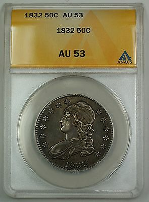 1832 Capped Bust Silver Half Dollar Coin 50c ANACS AU-53 (Better Coin) GBr