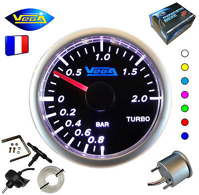► Manomètre Racing VEGA® 52mm Pression Turbo Tactile 7 couleurs -1 à 2 bars ◄