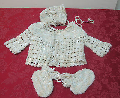 Vintage 3 Pc Set Handmade Hand Knit Baby Sweater Set Hat Sweater Bootie 0-3 Mon✞