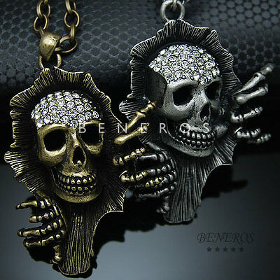 9c7cee3837629 SKULL HAND PENDANT Chain Necklace Gold Silver Black Mens Jewelry Swarovski  Biker