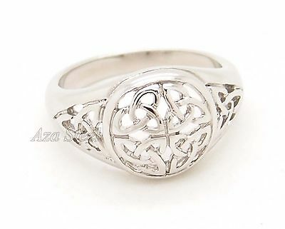 Women Girl Silver Celtic Knot Hollow  Stainless Steel Ring US Size 6, 7, 8, 9