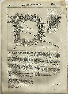 1700 Antique Copper Engraved Moll Map Belgium city of Ath province of Hainaut