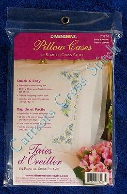 Stamped Cross Stitch Pillowcase Pair Blue Flowers Delicate