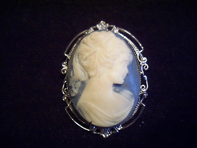 """vintage 2 1/4"""" blue cameo brooch, silver mounting, has some depth, nice"""