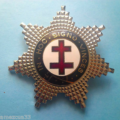Knights Templar The Lux Silver star Double Cross Heavy Badge