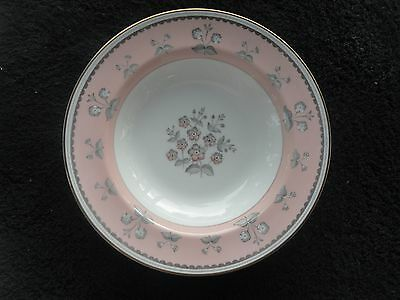 Wedgwood Pimpernel Pink Gold Edge Pink Rim Gray Flowers White Rimmed Soup Bowl