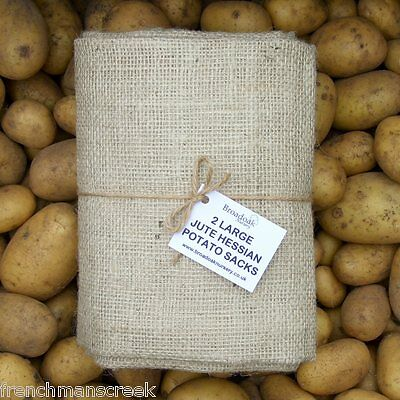 LARGE JUTE HESSIAN SACKS (50kg Potato Veg Storage Bag) 61x110cm PACKS FROM £4.50