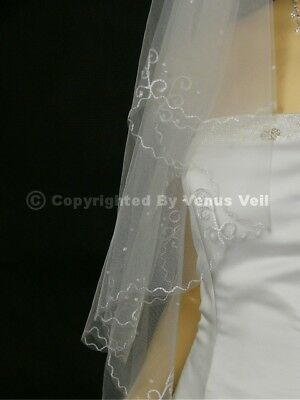 2T White Bridal Fingertip Scalloped Looping thread and Scattered Pearls Veil