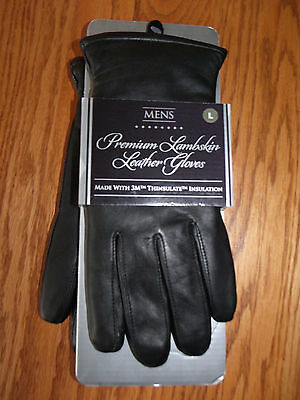 NWT Mens PREMIUM LAMBSKIN LEATHER GLOVES BLACK LARGE