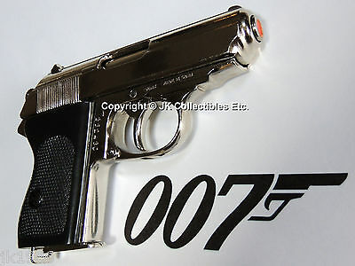 Denix Replica Nickel Walther PPK Pistol WWII Reenactor James Bond 007 Prop Gun