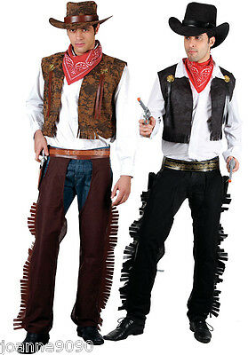 New Mens Adult Black Or Brown Western Cowboy Fancy Dress Costume Wild West