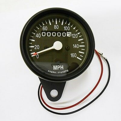 Speedometer Black 0-160mph Fits 12mm Speedo Cables Suzuki Cafe Racer Custom GS