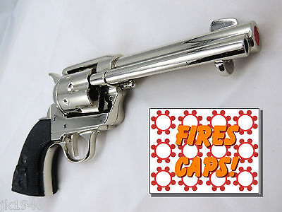 "Deluxe  Polished Nickel Finish CA Classic M1873 ""Fast Draw"" Revolver Replica Gun"