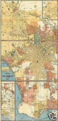 1938 LARGE ROAD STREET MAP LOS ANGELES HOLLYWOOD BEVERLY HILLS SANTA MONICA