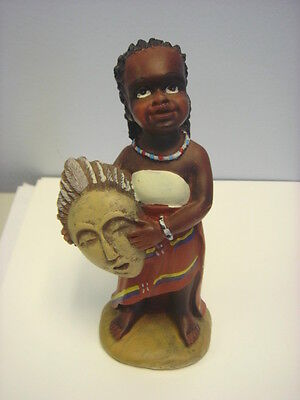African Woman Figurine Sculpture Tribal Dress with Mask