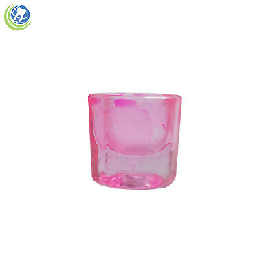 Glass Dappen Dish - Pink Acrylic Liquid Holder Container Dental Cosmetology Art