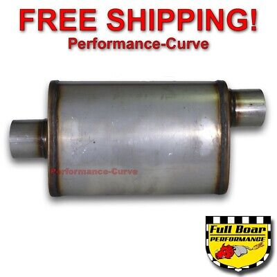 "1pc Stainless Steel Max Flow Oval Muffler Exhaust 2.25/"" Offset Inlet//Outlet"