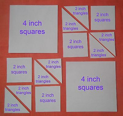 70 Square & Triangle Templates For Patchwork ~New Combo Pack~ Quilting Kits