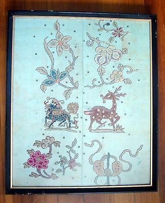 Antique Chinese Silk Embroidery Needlework Textile Needle Point Deer 19th c.