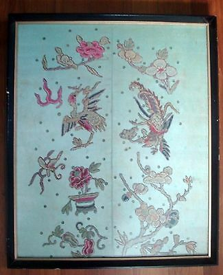 Antique Chinese Silk Embroidery Textile Panel 19th c. Phoenix Birds  Export