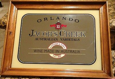 Vintage Orlando Jacob's Creek Framed Reflections Mirror Bar Decor, Australia
