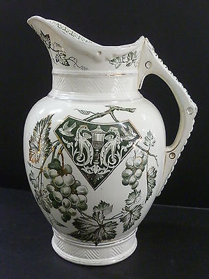 Antique Water / Wash Jug With Grape & Vine Decoration / Dated 1874 .. England