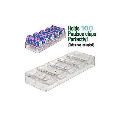 Clear Acrylic 67.7mm Poker Chip Rack (5 Row / 100 Chip) - Item 95-0051