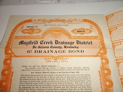 Mayfield Ky. 1925 Mayfield Creek Dranage BOND CERTIFICATE SIGNED & DATED 1920s