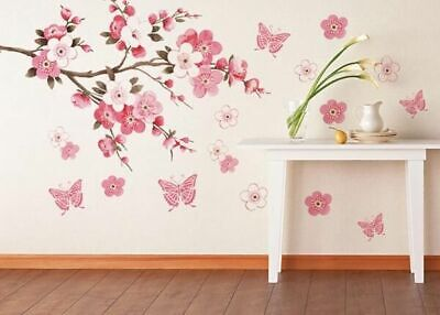 Pink Peach Blossom Flowers Tree Branch Kids Wall Stickers Art Wall Decal Decor