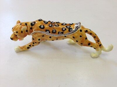 Beautiful Bejeweled Leopard Statue Trinket Jewelry Box 4.25""