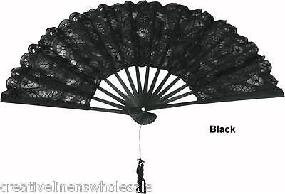 Black Victorian Battenburg Lace Wedding Bridal FAN New Creative Linens