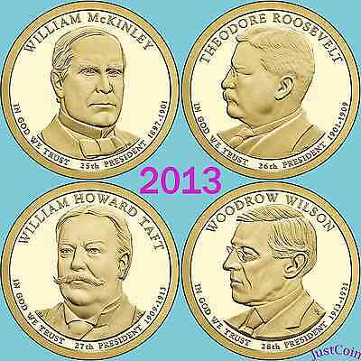 2013 ALL 8 P&D McKINLEY ROOSEVELT TAFT WILSON PRESIDENTIAL GOLDEN DOLLARS SET