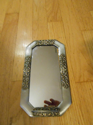 "Vintage METAL  Wall MIRROR / Shelf 10.5 "" BY 6 -free us shipping-"