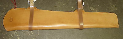 "Rifle Scabbard for Saddle Leather Maker Marked Handmade 32"" Light Oil"