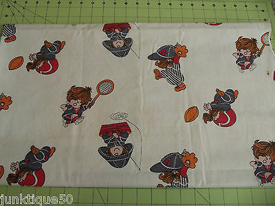 """Sewing Craft Fabric Vintage Child Boy Playing Sports Brushed Cotton 48""""x44"""" SL10"""