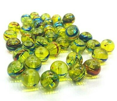 50 pieces 8mm Drawbench Glass Beads - Golden Yellow  A3556