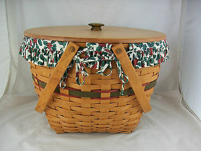 Longaberger 1994 Holiday Hostess Sleigh Bell Basket Combo w Lid Holly