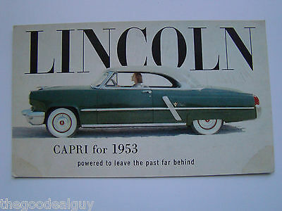 1953 2 door Lincoln Capri Factory Car Postcard  Blue Green with White top LITHO