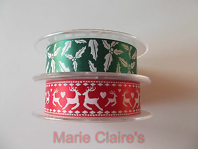 Christmas (Xmas) Ribbon 24Mm Cake Craft, Red With Reindeer Or Green With Holly