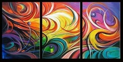 Beautiful 3pc Abstract Huge Wall Decor Oil Painting On Art Canvas