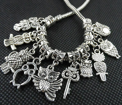 "Free Mixed 50PCS Tibetan Silver""Owl""Charms Beads For Bracelet Finding DIY"