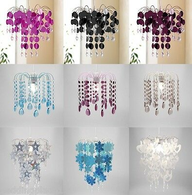 Chandelier Chic Ceiling Pendant Light Shade Crystal Droplet Light, Easy Fit
